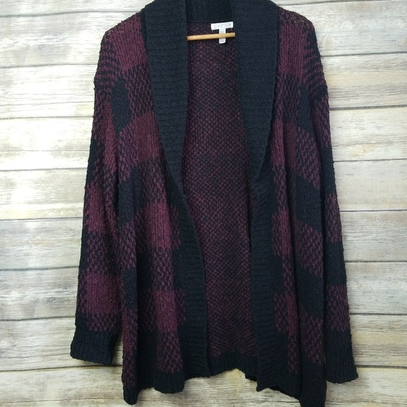 Nordstrom Sweaters - Leith Nordstrom Red Black Check Plaid Cardigan M L c4fb8352f